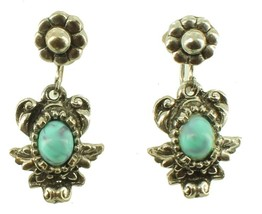 VINTAGE FAUX TURQUOISE SILVER TONE ORNATE DROP SCREW BACK EARRINGS PRETTY! - $48.59