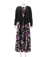 Attitudes Renee Petite Printed Maxi Dress Cardigan Black Floral P3X NEW ... - $37.60