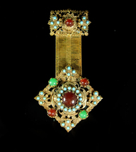 Edwardian Fob Brooch turquoise jeweled fancy watch chain design Karu sig... - $235.00