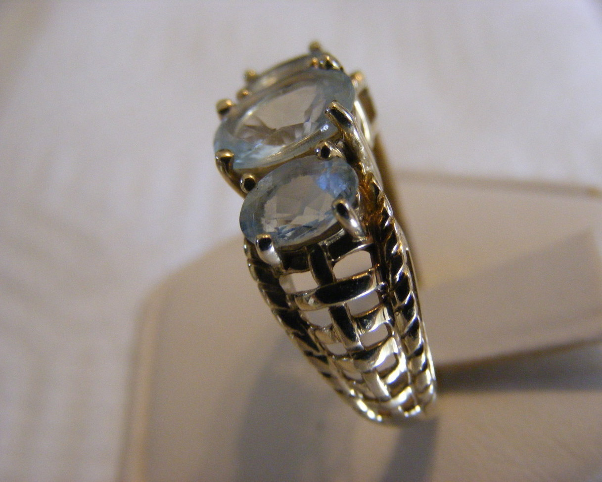 Aquamarine Natural Mined Gemstone Ring 14kt Yellow Gold size 6 A gift for Her