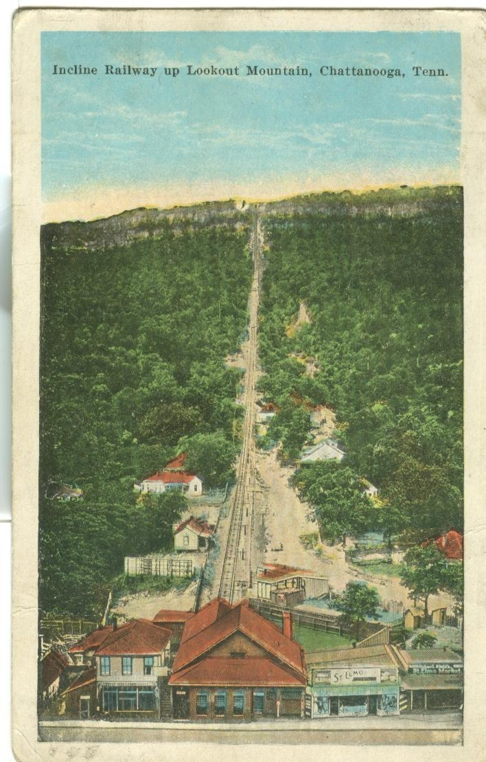 Incline Railway up Lookout Mountain, Chattanooga, Tenn, 1925 used Postcard