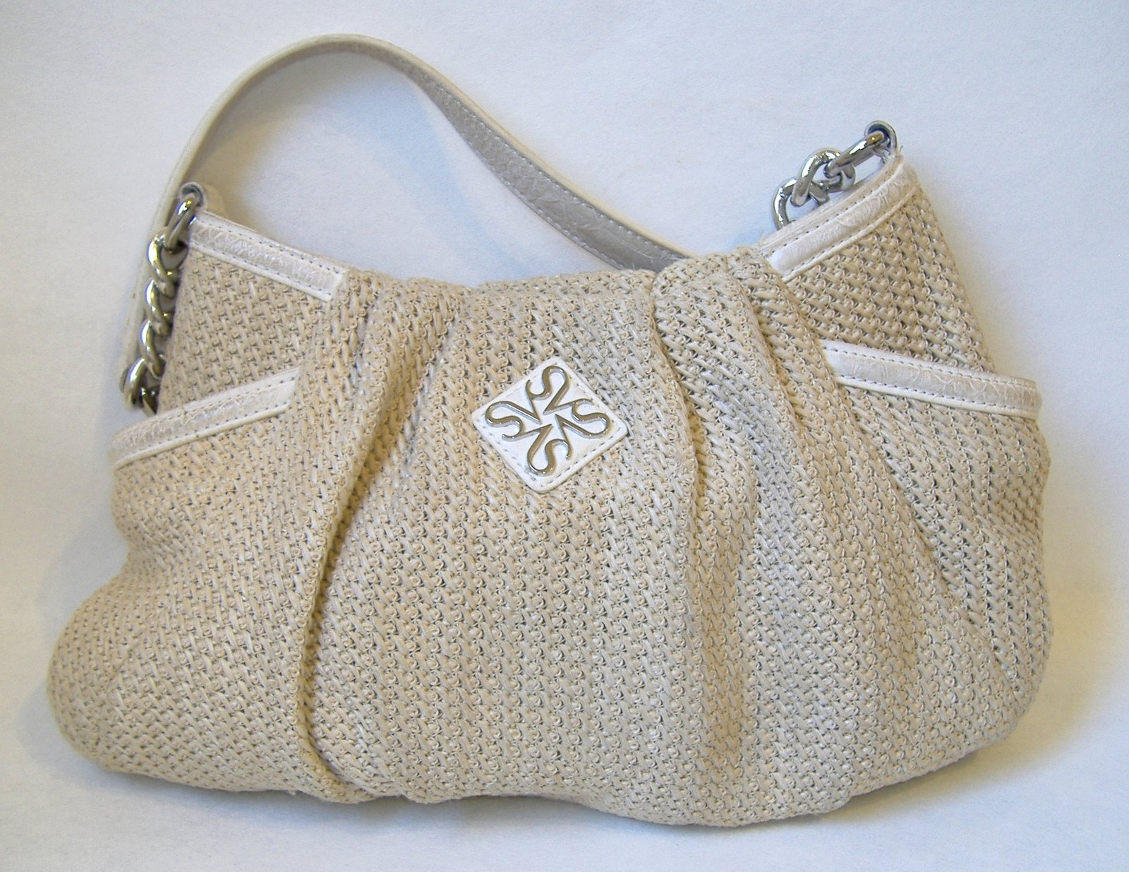 Simply Vera Hobo Purse Beige Off White Knit Shoulder Bag Handbag Tote Lined 20 00