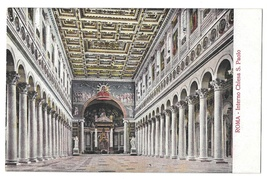 Roma Italy Chiesa S Paolo Interior Rome Church of St Paul Vintage Postcard - $4.99