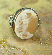 Romantic Cupid Cameo Ring Carved Cherub vintage sterling Victorian Angel Size 9 - $145.00