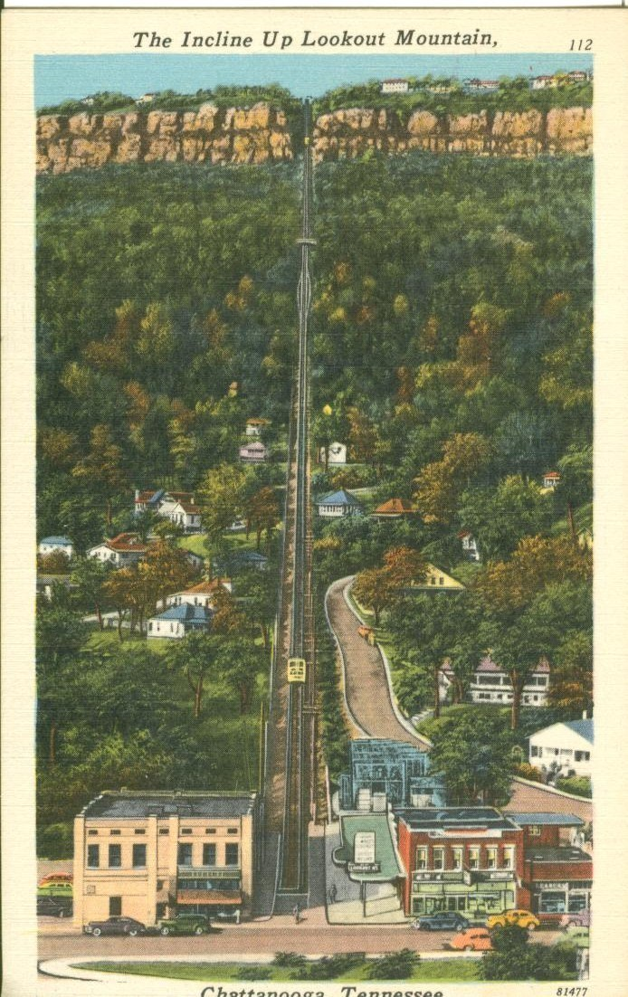 The Incline Up Lookout Mountain, Chattanooga, Tennessee, unused linen Postcard