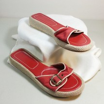 Montego Bay Club Womens Sandals Shoes Red  Size 8 Adjustable Tops Canvas... - $9.99