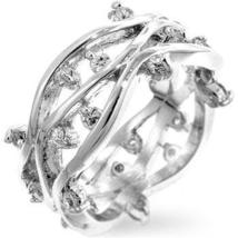 Silvertone Zircon Vines Ring - $22.00