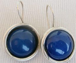 Blue agate round earrings - $28.00