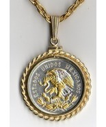 "Mexican 10 centavo ""Gold & silver Eagle"" coin pendant & 14k necklace - $137.00"