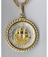 "South African penny ""Sailing ship"" coin jewelry pendant necklace - $127.00"