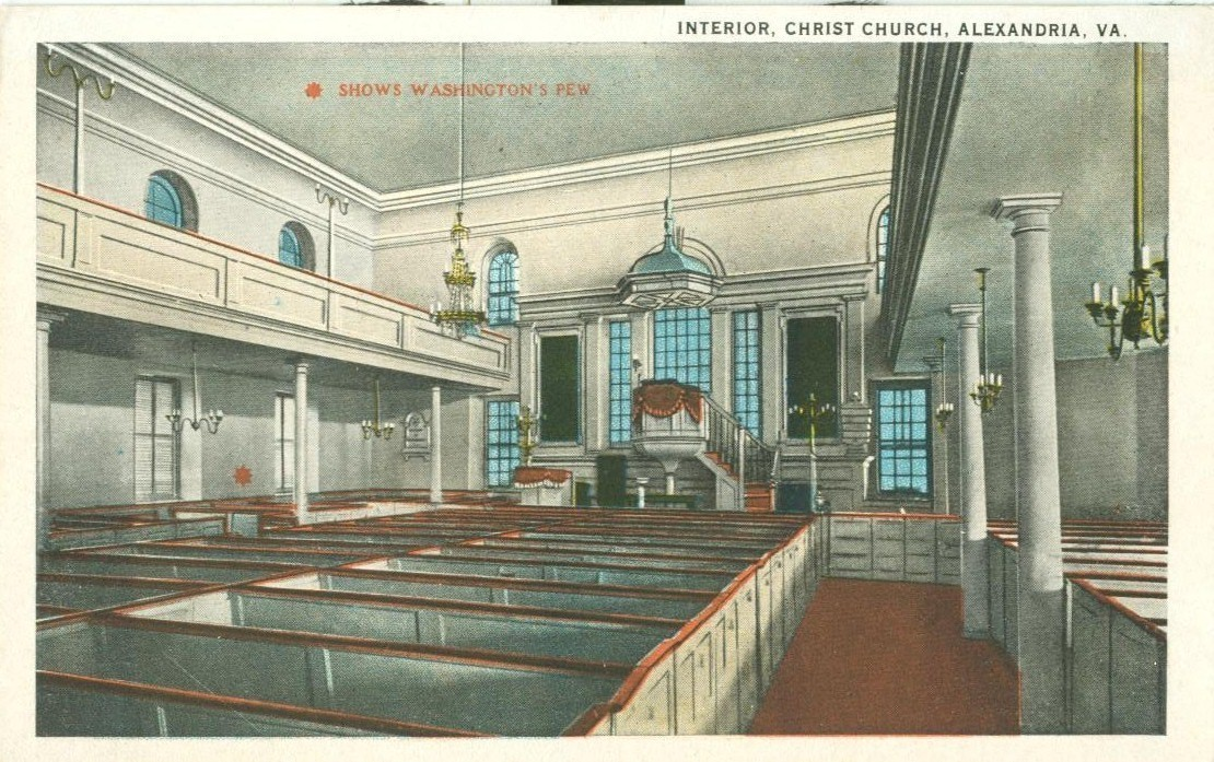 Interior, Chirst Church, Alexandria, Va, 1920s unused Postcard