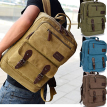 Vintage canvas Briefcase School business bag Men Messenger Laptop Backpack - $27.99