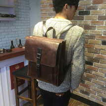 Fashion Vintage Men's Leather Backpack  Messenger Bags Briefcase Laptop bag - $36.39