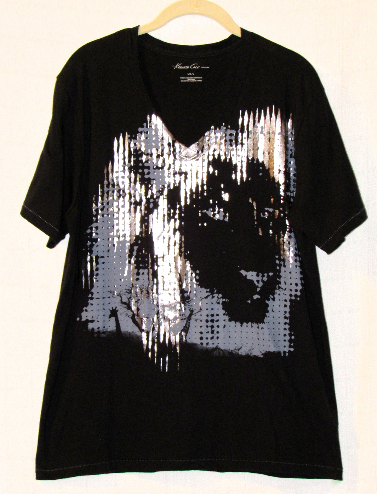 Kenneth Cole NY Metallic Lion Graphic Tee Black Cotton Short-Sleeve V-Neck S: L