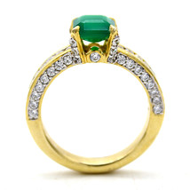 Green Square Crystal Diamond Engagement Ring Sterling Silver Statement Ring - $37.40