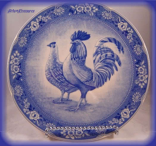 Awesome French Country Blue Rooster Hen Plate C