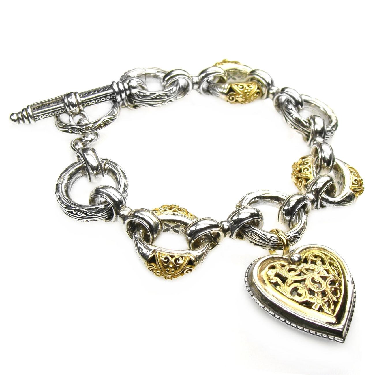 02006275 gerochristo 6275 gold silver filigree heart charm bracelet 1