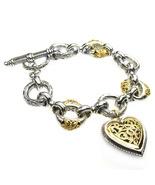 Gerochristo 6275 -  Solid 18K Gold & Silver - Heart Charm Bracelet  - $1,450.00