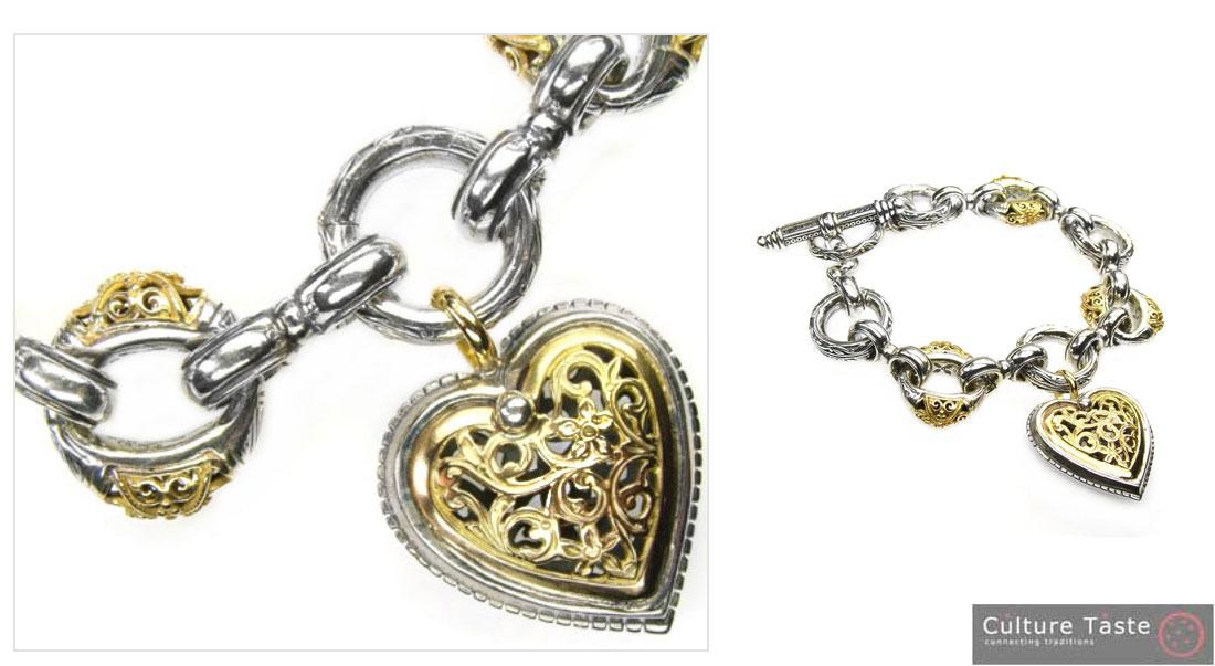 Gerochristo 6275 -  Solid 18K Gold & Silver - Heart Charm Bracelet
