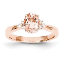 NEW 14K Rose Gold 1.30cttw Oval Morganite & Diamond Engagement or Cockta... - £469.40 GBP