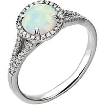 1 carat Diamond and Created Opal Halo Vintage Round Split Band Engagemen... - £521.10 GBP