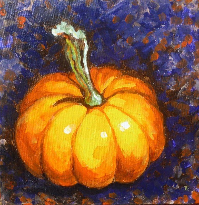 "Akimova: PUMPKIN, food, still life, acrylic, 10""x10"", Halloween"