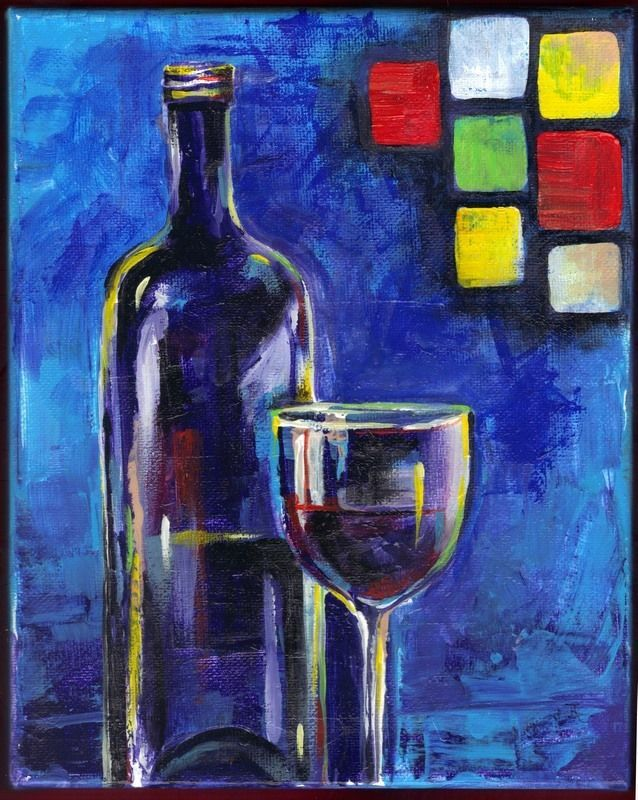 "Akimova: BOTTLE, acrylic, 8""x10"", blue"