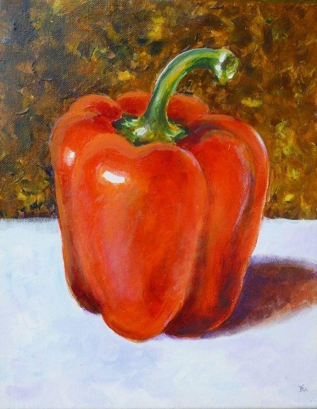 "Akimova: BELL PEPPER, food, still life, acrylic, 11""x14"", red"