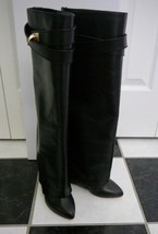 NIB 100% AUTH GIVENCHY shark lock black leather boots Gold HW Sz 35 $2195 - $1,168.20