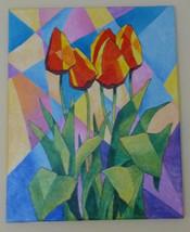 "Akimova: TULIPS still life, acrylic, 16""x20"", red, flowers - $25.00"