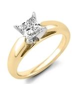 0.72 CT. Princess Diamond Solitaire Ring 14K Yellow Gold (F, I1) Engagem... - $2,124.99