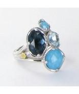 Tacori 18k925 Island Rains Ring Sz 7 Blue Topaz Neolite Turquoise 925 Ne... - $484.99