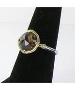 Tacori 18k925 Midnight Sun Solitaire Ring Sz 7 Smokey Quartz 18k Y Gold ... - $358.89
