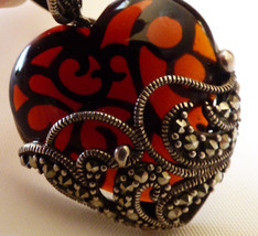 INTRICATE STERLING SILVER 925 MARCASITE & COGNAC COLOR GLASS HEART PENDANT - $78.21