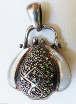 STERLING SILVER 925 DOUBLE SIDE MOTHER OF PEARL MARCASITE PURSE LOCKET P... - $118.80
