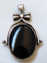 STERLING SILVER 925 DOUBLE SIDE BLACK & WHITE MOTHER OF PEARL ONYX PENDANT - $78.21