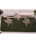 """Vintage ANSON TEXAS Cufflinks Tie Bar Set Engraved w/ """"TEXAS"""" with state... - $29.65"""