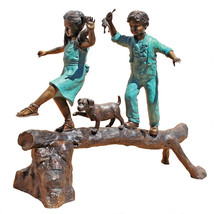 Boy, Girl and Dog Playing On Log Lost Wax Bronze Garden Statue Sculpture - $6,950.00