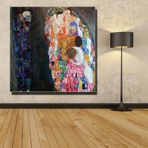 1 Pcs Death and Life Gustav Klimt Wall Picture Canvas Painting 24x24inch - $39.99