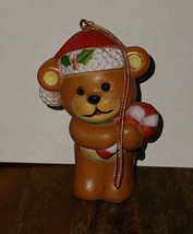 Small Plastic Teddy Bear Ornament Christmas Xmas Hong Kong Candy Cane 2.... - $3.96