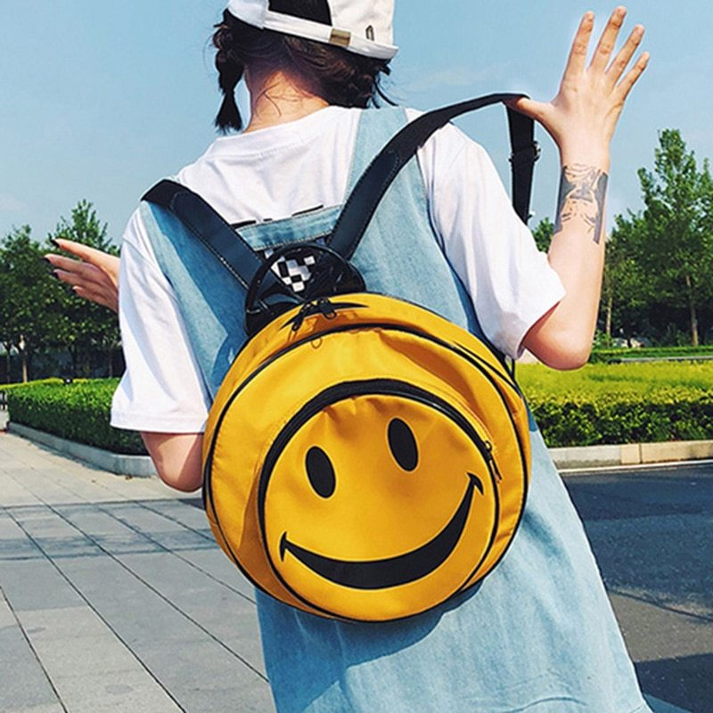 Primary image for ETAILL Cute Smiley Face Print Large Round Backpack for Girls Yellow Nylon Backpa