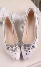 Ivory Crystals Leather Wedding Shoes,Women Bridal Leather Low Heels Flats Shoes - $88.00
