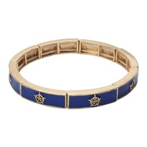 Inspired Silver Blue & Gold Nautical Charm Stylish Stretch Bracelet Maxi... - $256,53 MXN