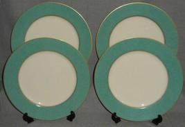 Set (4) Mikasa Fine China Esquire Teal Pattern Dessert/B&B Plates Made In Japan - $29.69