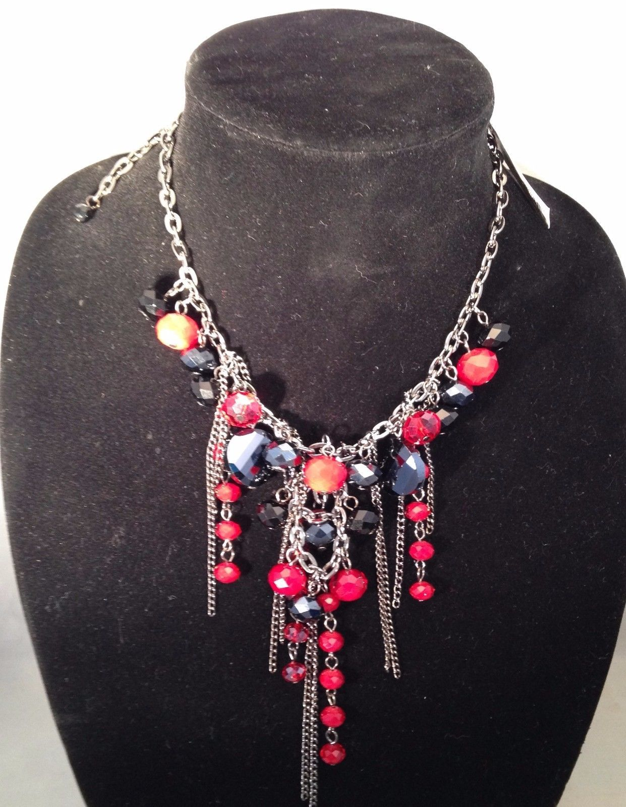 New Cookie Lee Necklace w/ Red and Purple Faceted Crystals & Chains