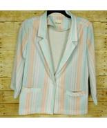 Woman Blazer Jacket 12 Large Multi Colors Striped Vintage Devon - $12.17