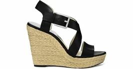 MICHAEL MIchael Kors Giovanna Black Leather Espadrille Wedge sandals sz 9 M - $43.36