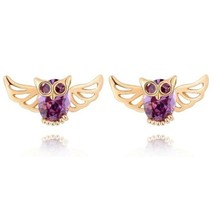 Owl Ear Studs Purple Zircon 18K Gold Galvanized - $9.89