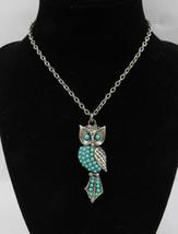 "Vintage Silver Tone Owl Turquoise color Charm Pendant Necklace Chain 24"" - $35.00"