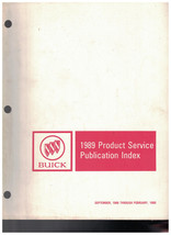 1989 Buick Product Service Bulletin Index Official General Motors - $14.46